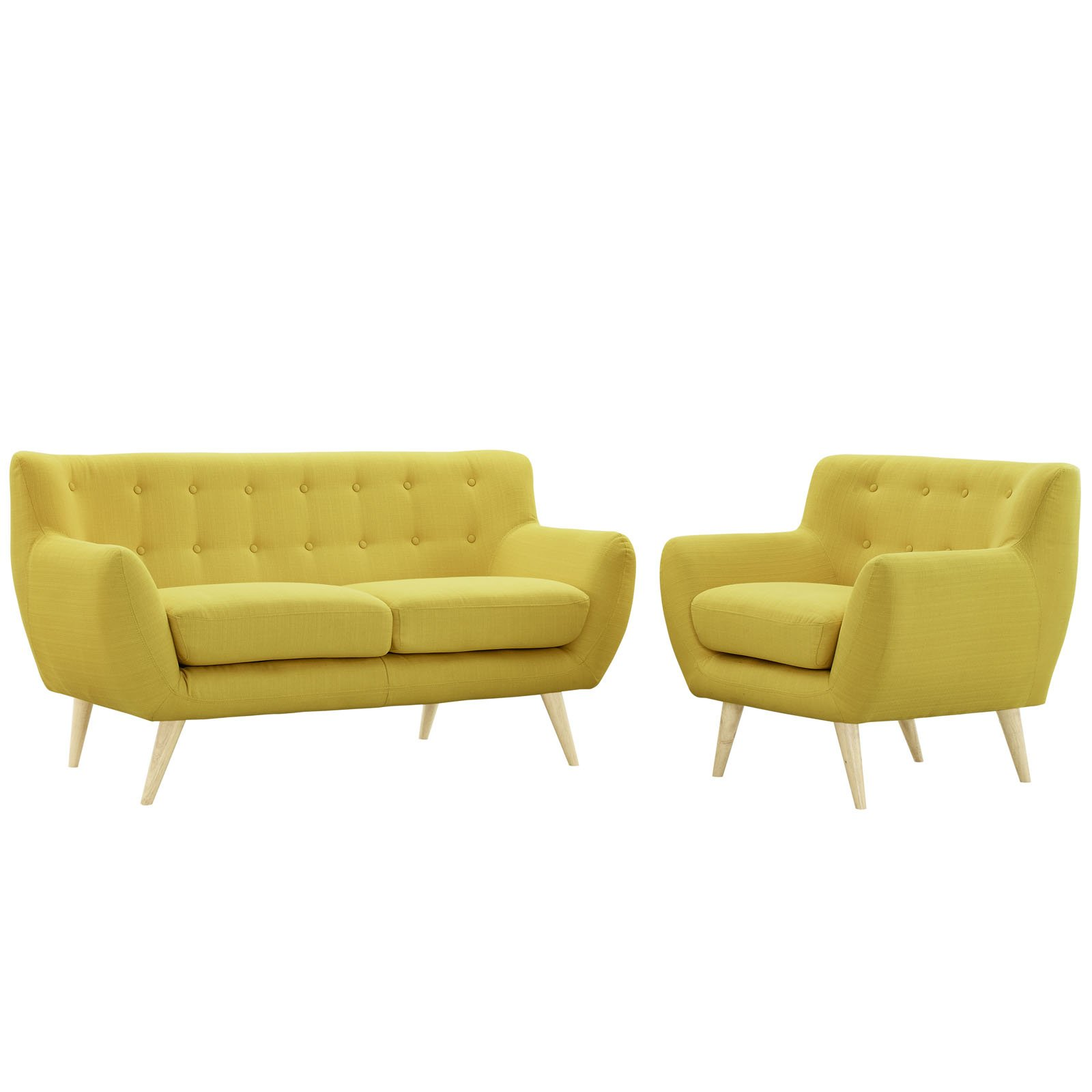 Modway Remark Mid-Century Modern Loveseat and Armchair Living Room Furniture with Upholstered Fabric in Sunny by Modway