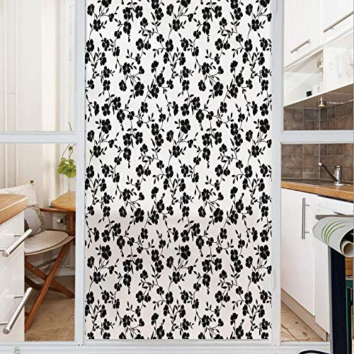 (Decorative Window Film,No Glue Frosted Privacy Film,Stained Glass Door Film,Flower Pattern Blooms Simple Silhouettes Classics Interiors Ornate Illustration Decorative,for Home & Office,23.6In. by)