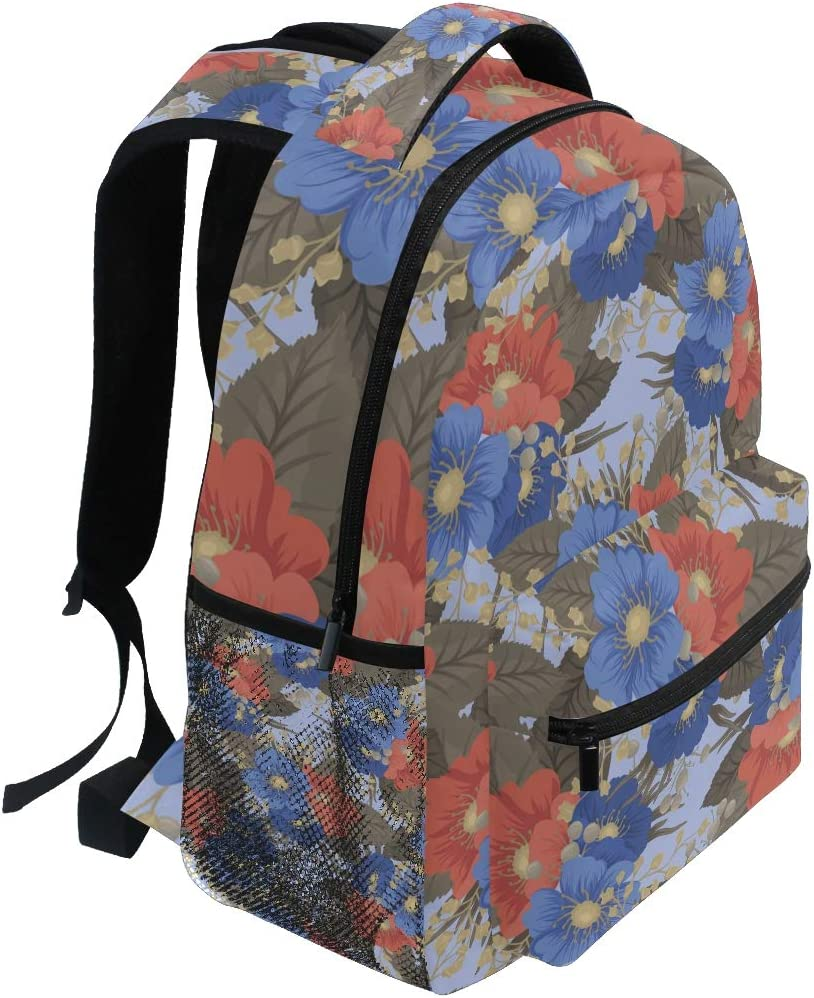 Backpack Floral Pattern Background Blue Red Flowers Canvas School Bags Laptop Daypack