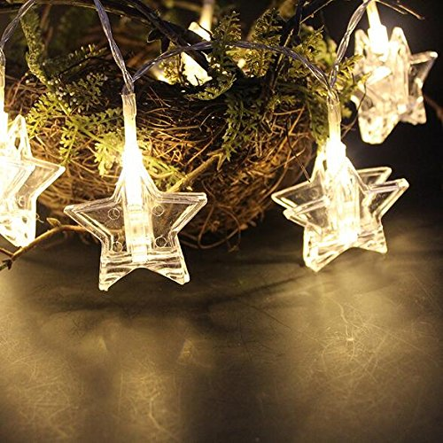 20 Led Star Photo Clips String Lights, Chris.W Christmas Indoor Fairy Lightstrings for Hanging Pictures Cards and Memos, Ideal Gift for Dorms Bedroom Decoration (10FT, Warm White)