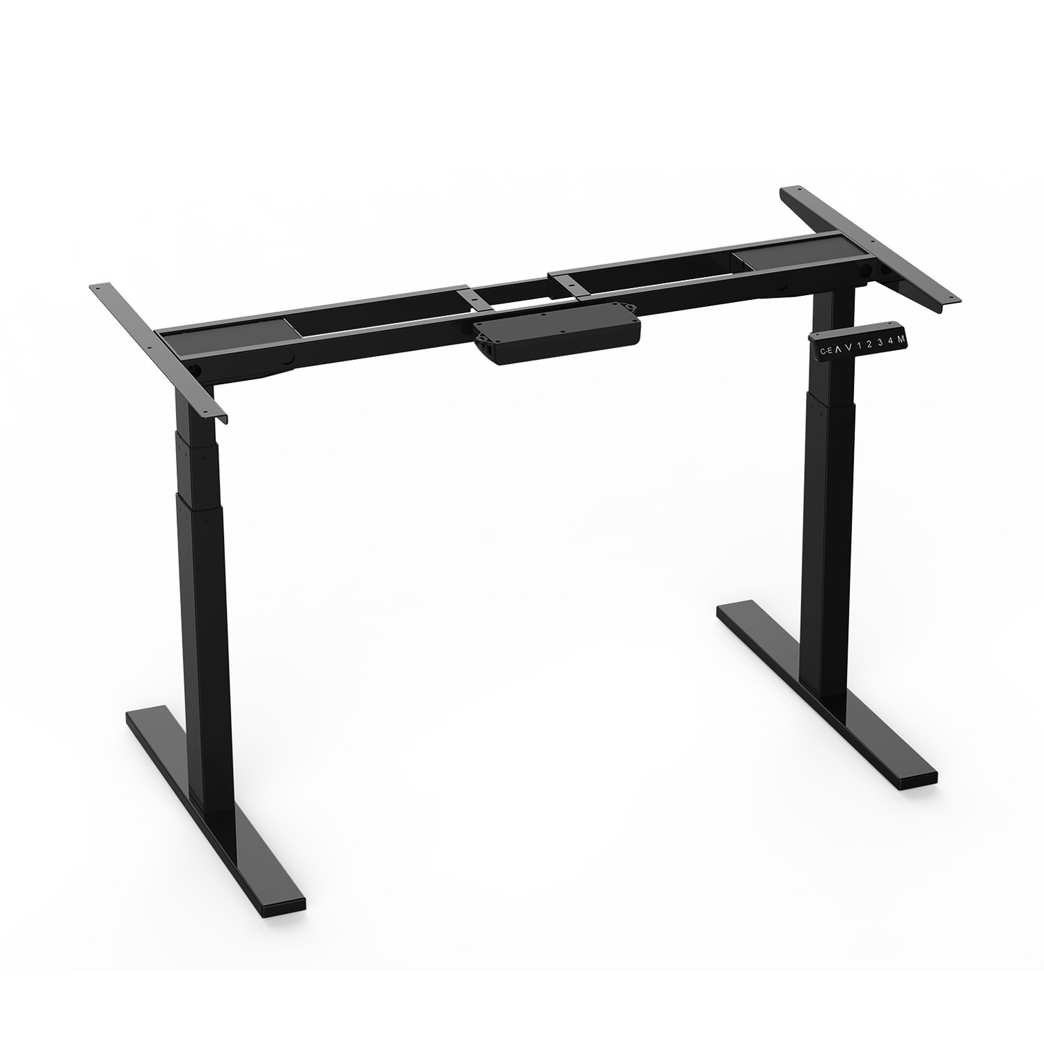 """AIMEZO 3 Tier Adjustable Legs Dual Motor Electric Sit to Stand Desk Frame 71"""" W Electric Height Adjustable Desk Base"""