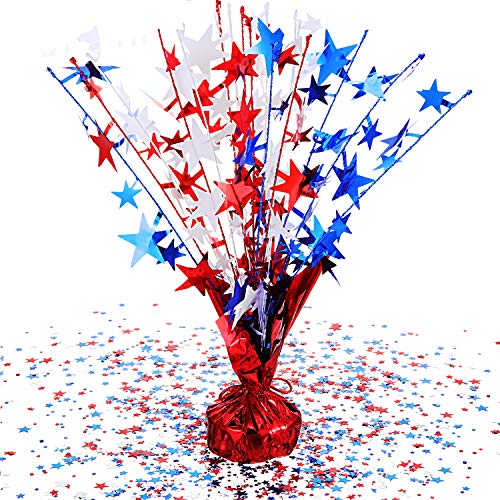 Syhood Patriotic Spray Centerpiece 4th of July Star Shape Confetti Spray Patriotic Decoration for Independence Day Celebration Supplies