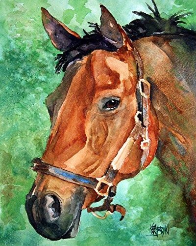 Bay Horse Fine Art Print on 100% Cotton Watercolor - Fine Horse Art