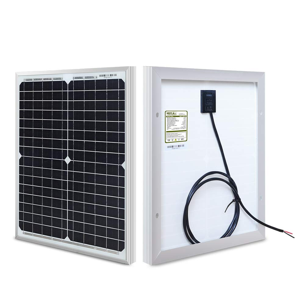 HQST 20W 12V Monocrystalline Compact Design Solar Panel High Efficiency Module Off Grid PV Power for Battery Charging, Boat, Caravan, RV and Any Other Off Grid Applications