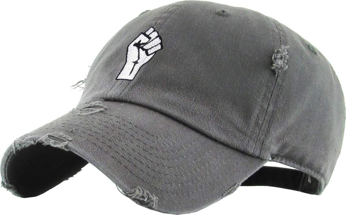 KBETHOS Fist Dad Hat Baseball Cap Unconstructed Polo Style Adjustable (Adjustable, (Distressed) Dark Gray)