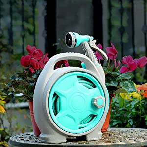 VUE Retractable Garden Hose Reel, 50 FT Upgrade Portable Garden Hose with 6-Function Spray Nozzle for Watering Flowers, Car Washing, Cleaning, Showering Pets (Blue)