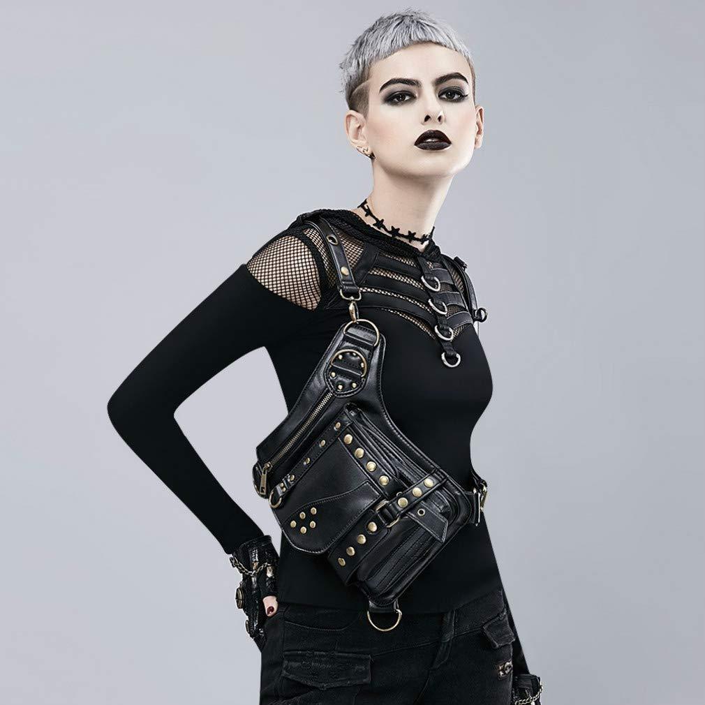 MIRUIKE Leather Waist Bag Crossbody Bag Halloween Steampunk Retro Gothic Goth Bag Shoulder Packs
