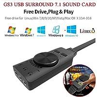 Adaptador de tarjeta de sonido USB de 7.1 canales GS3 para audio externo 2.0, convertidor de tarjeta de sonido estéreo con control de volumen para dispositivos con conector jack de 3,5 mm, como auriculares, auriculares, etc.