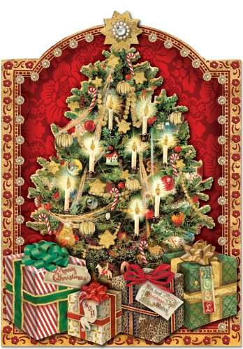 Punch Studio Christmas Tree with Presents and Dimensional Holiday Greeting Cards - Set of 12 (50345), multi-colored