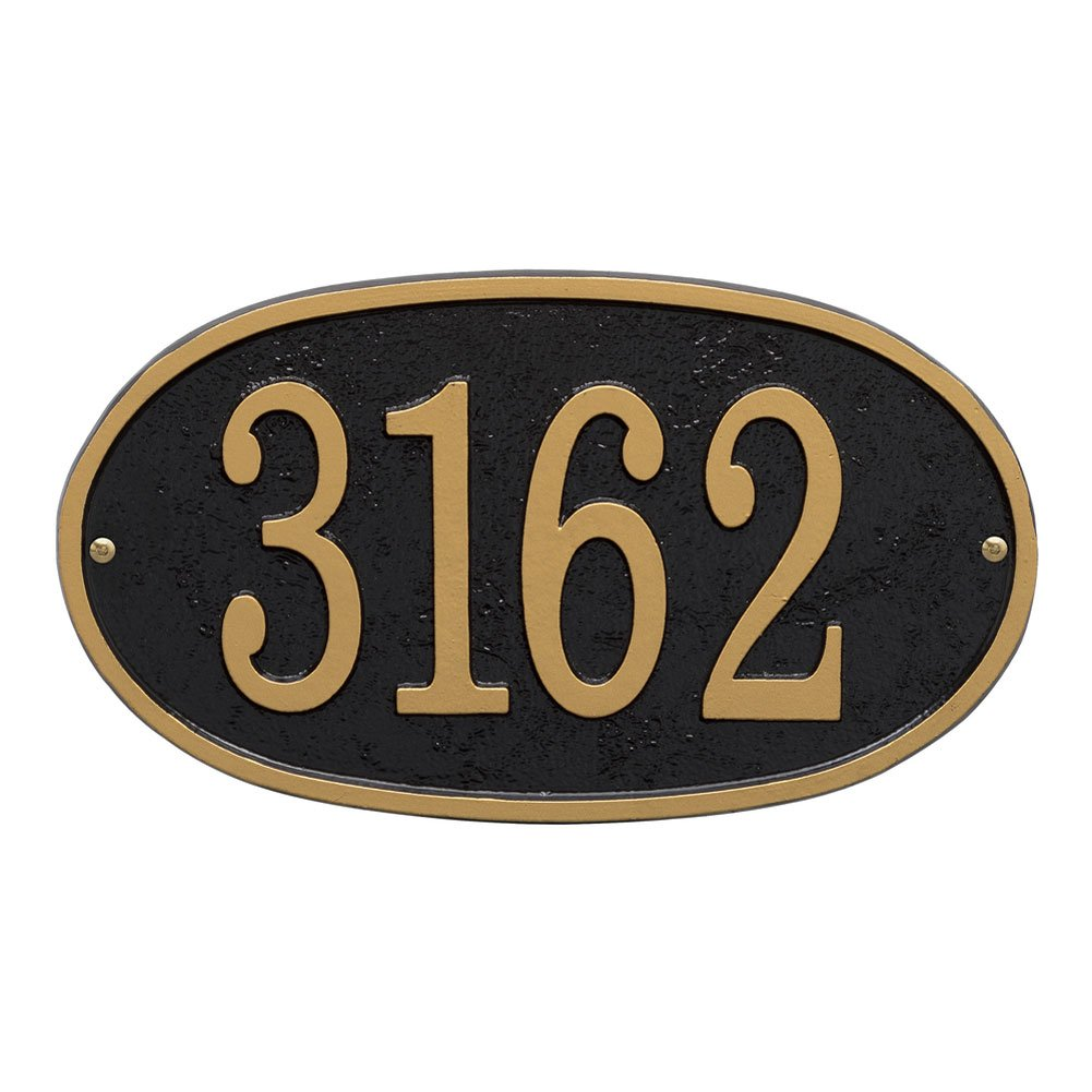 Whitehall Personalized Cast Metal Address Plaque - Custom House Number Sign - Oval (12'' x 6.75'') Black with Gold Numbers