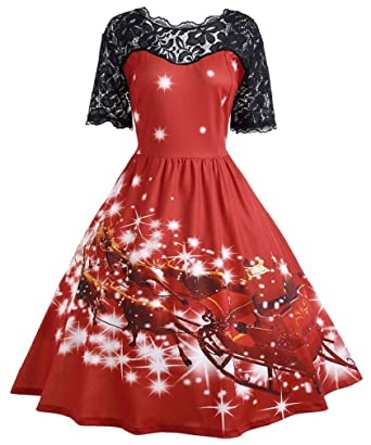 edce12f1c0f Vanbuy Womens Red Christmas Dress Santa Clause Reindeer Elk Print Xmas  Festive Vintage Party Work Dress