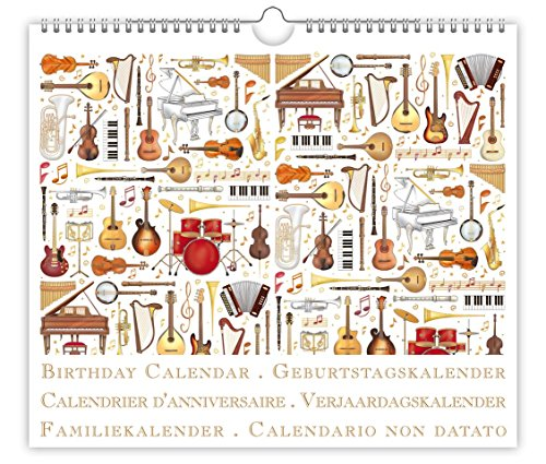 Birthday Calendar, Musical Instruments, Embossed with Gold and Silver Foil, Size 8.9 X 7.7, by Quire (Musical Foil)