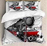 Steam Engine Bedding Set,Locomotive Red Black Train on Steel Railway Track Travel Adventure Graphic Print,4 Piece Duvet Cover Set Bedspread for Childrens/Kids/Teens/Adults,Red Grey Twin Size