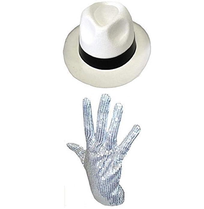 Sombrero del Rey del pop con su guante blanco de purpurina blanco blanco  negro  Amazon.es  Ropa y accesorios 8eb9ca86bc7