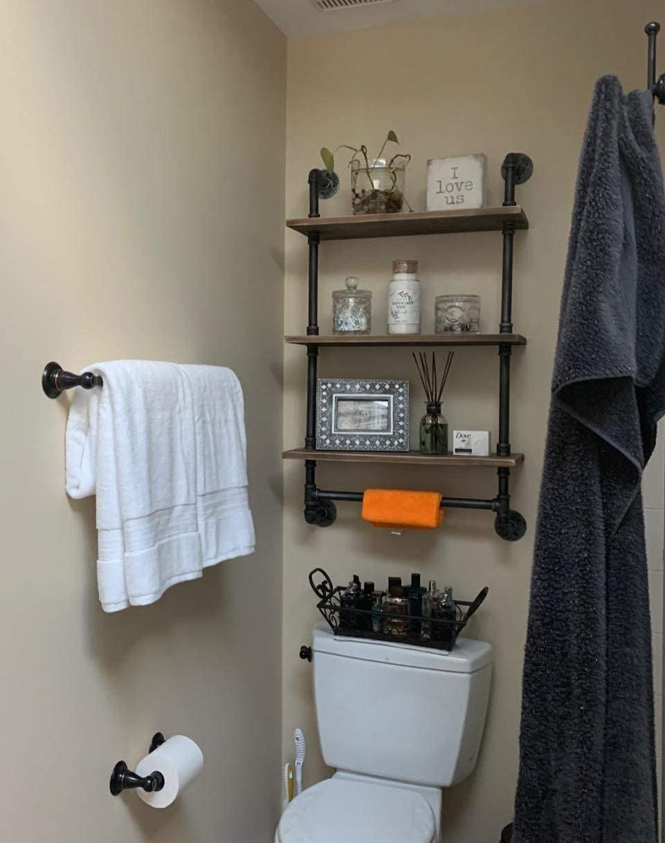 Industrial Pipe Shelf,Rustic Wall Shelf with Towel Bar,24 Towel Racks for Bathroom,3 Tiered Pipe Shelves Wood Shelf Shelving