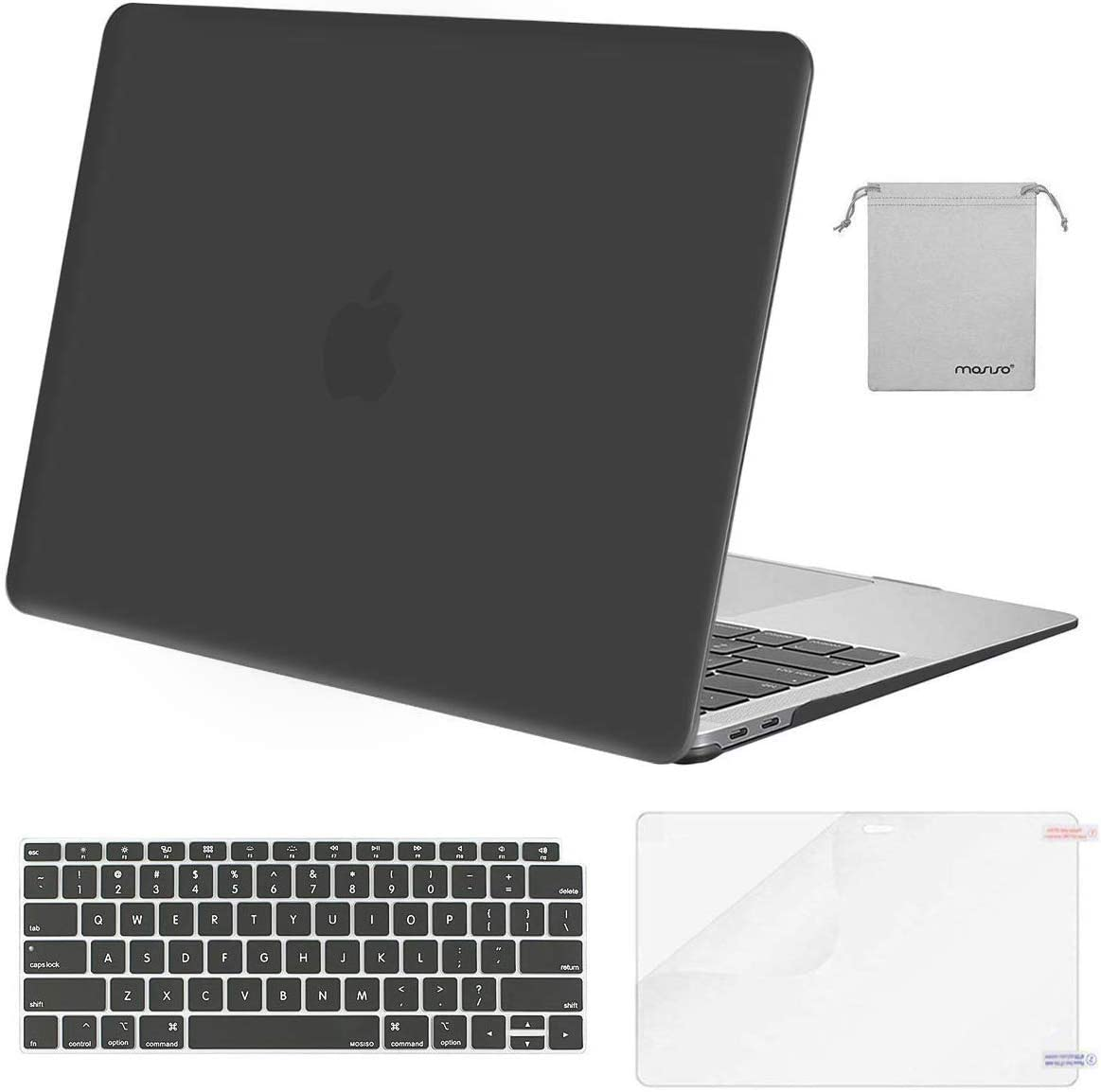 MOSISO MacBook Air 13 inch Case 2020 2019 2018 Release A2337 M1 A2179 A1932, Plastic Hard Shell&Keyboard Cover&Screen Protector&Storage Bag Compatible with MacBook Air 13 inch Retina, Space Gray