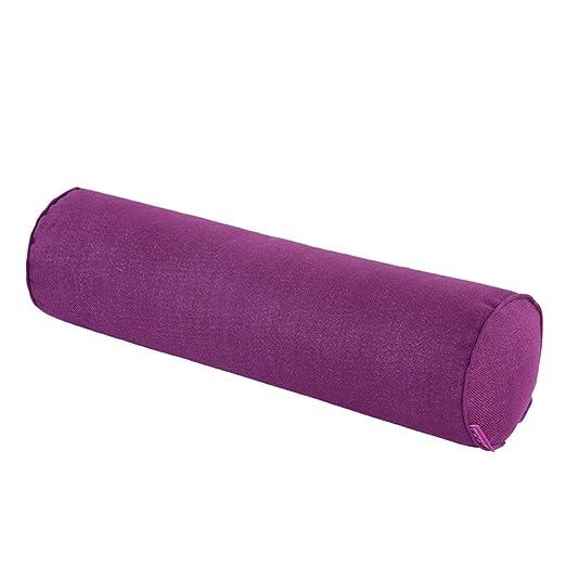 Cojín alargado de KTLRR desenfundable, relleno de perlé, funda de algodón natural, cojín cervical y lumbar cilíndrico para el sofá o el coche, 15 x 40 ...
