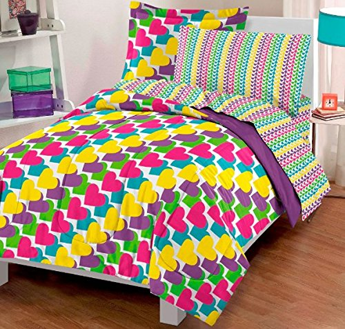 5 Piece Girls Rainbow Hearts Comforter Twin Set, Beautiful Vibrant All Over Small Love Heart Themed Bedding, Pretty Colors Pattern Lime Green Yellow Pink Teal Blue Yellow Purple, Microfiber (Hearts 5 Piece Pink)