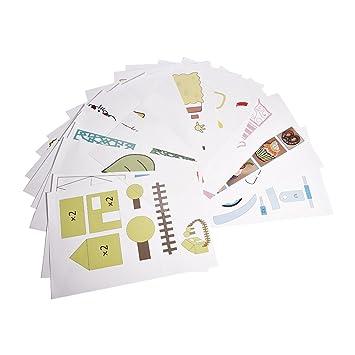 fosa Plantillas de Papel para Pluma Impresora 3D para Niños, 20 Páginas con 40 Diferentes Patrones de Dibujos Animados, Modelos de Papel de Material ...