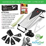 Mandoline Slicer - Vegetable Slicer - Food Slicer - Julienne Multi Slicer. Stainless Steel Includes 6 Different Blades, Cut Resistant Gloves, 12 Piece Set - 2 Year Warranty - by KitchyChef