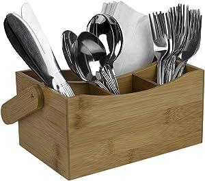 Home Basics KT45845 4 Compartment Bamboo Cutlery Holder, Flatware Caddy, Silverware Swing Handle, Kitchen Storage Drawer Organizer Home Restaura