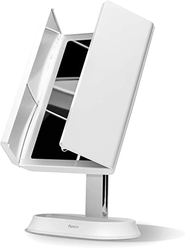 Fancii LED Lighted Makeup Mirror with 3 Color Temp, Rechargeable Trifold Vanity Mirror with 5X 7X Magnifications – Dimmable Lights, Ultra Reflective Glass, Touch Sensor, Cosmetic Stand Zora