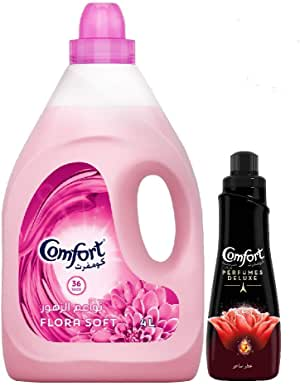 Comfort Fabric Softener Flora Soft + Concentrated Perfumed Fabric Conditioner, 4 Litre + 650 ml