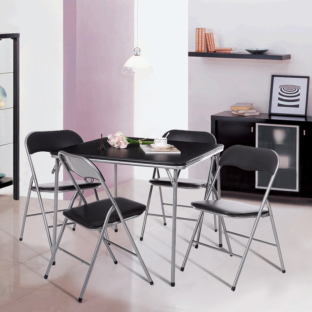 Amazon com ikayaa 5 piece folding card dining table chair set black type 1 kitchen dining