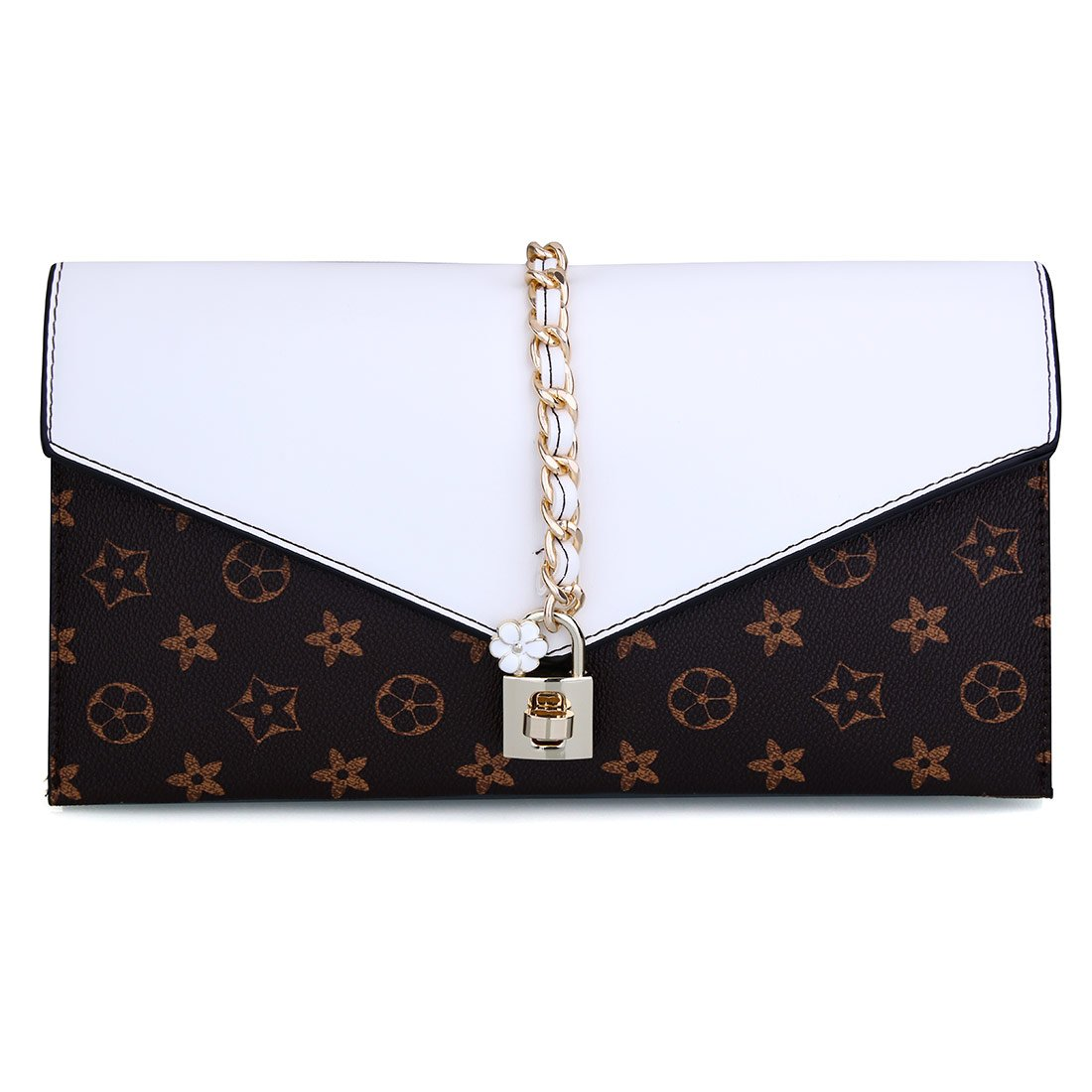 5b2df1ed8720 Women Flower Designer Evening Clutch Crystal Evening Handbag with Lock  (White)  Amazon.co.uk  Shoes   Bags