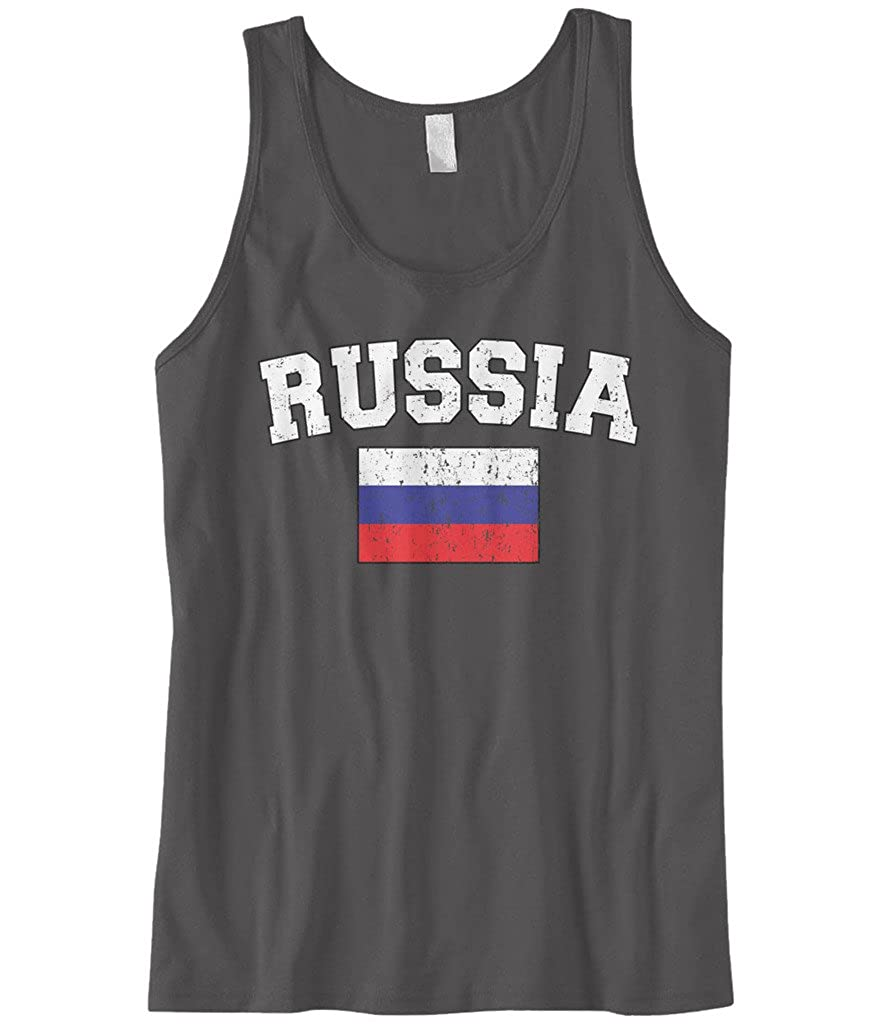 Cybertela Mens Faded Distressed Russia Flag Tank Top