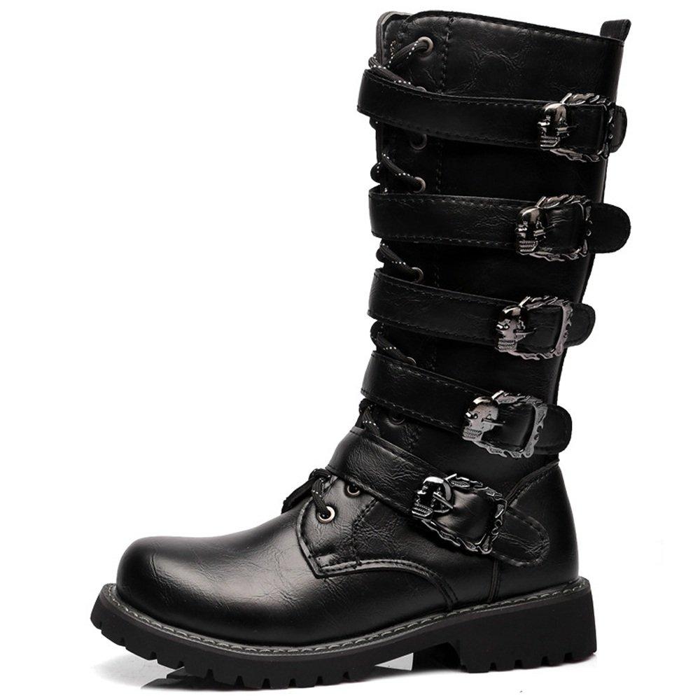 BONUS ET SALVUS TIBI (BEST) Best Choise Zapatos de Hombre con Cordones Botas de Combate Superior de Cuero para Caballeros Correr un Tamaño Más Grande Al Aire Libre (Color : Black, Size : 43 EU) 43 EU|Black