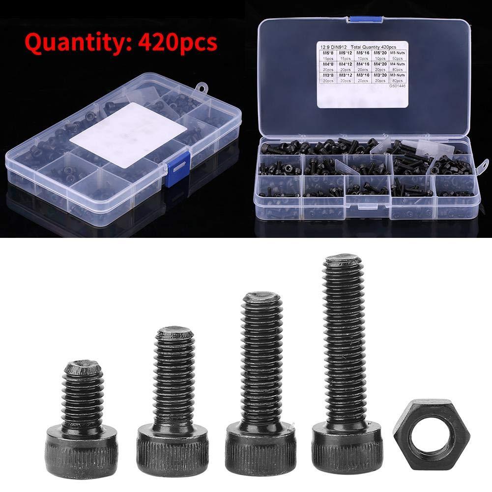 420pcs M3//M4//M5 Carbon Steel Hex Socket Head Cap Screws and Nuts Assrotment Set Screw Socket Head Cap Screw Set Hex Socket Screws