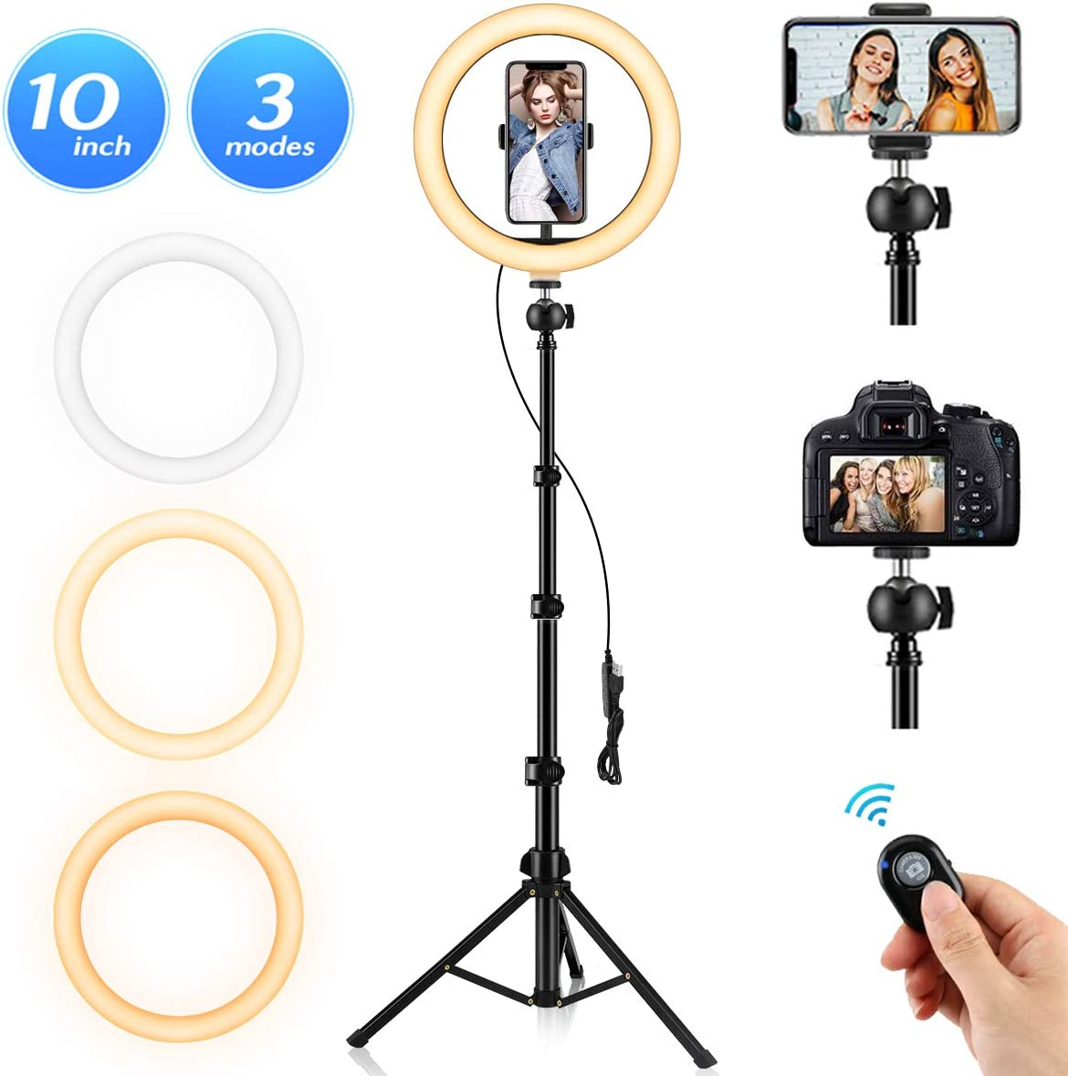 "Ring Light, 10.2"" Selfie Ring Light with Stand and Phone Holder, 3 Light Modes & 10 Brightness 120 Bulbs Dimmable Ring Light for YouTube Video/Makeup/Photography/Live Stream"