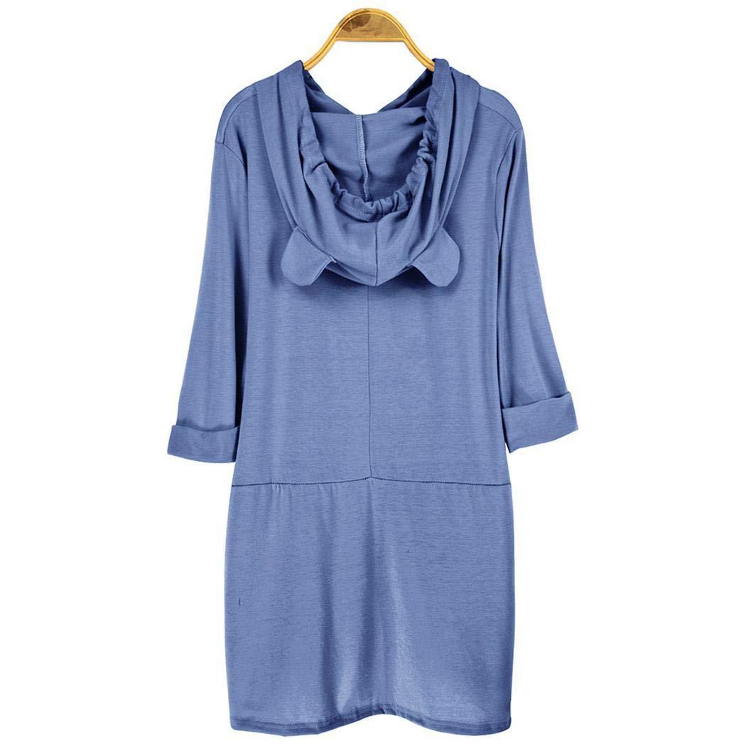 Weardear M-5XL Women Loose Casual Hooded T-Shirt Asymmetrical Design Top Knits & Tees Blue