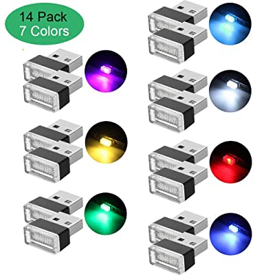 Lipctine USB LED Car Interior Atmosphere Lamp, Night Led Decoration Mini USB Light, Ambient Lighting Kit, Charging for Interior Led Lights White Blue Red Yellow Green Pink Ice Blue 14PCS (7 Colors): Automotive [5Bkhe1008920]