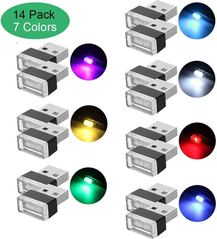 Lipctine USB LED Car Interior Atmosphere Lamp Charging for Interior Led Lights White Blue Red Yellow Green Pink Ice Blue 14PCS Ambient Lighting Kit Night Led Decoration Mini USB Light 7 Colors