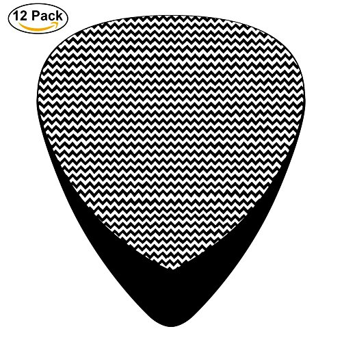 wavy stripes Guitar Picks 12pack Celluloid Plectrum Custom Thin-Medium-Heavy for Electric Acoustic Bass Mandolin Ukulele Best Stocking Stuffer Gifts for kids (Wavy Round Tip Black Nylon)