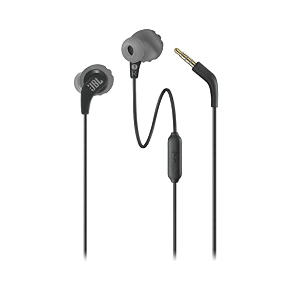 JBL Endurance Run Sweat-Proof Sports in-Ear Headphones with One-Button Remote and Microphone (Black) In-Ear Headphones at amazon