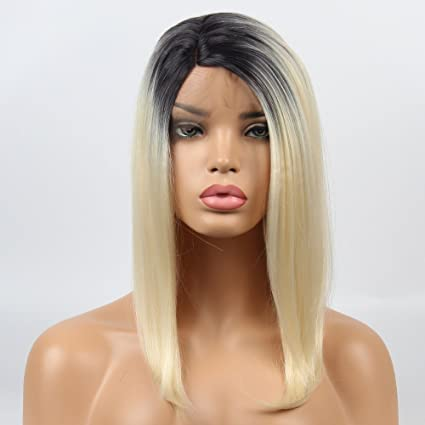 vvBing Shoulder Length Hair Short Blonde Bob Lace Front Wigs Glueless Synthetic Wigs for Women 2Tones