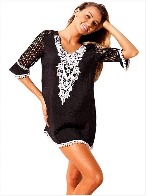 ALOOVOO Falda de Encaje Negra para la Playa, Cubiertas para Mujer ...