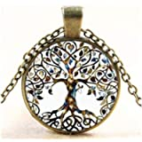 Hithop 1pc Vintage Ladies' Necklace the Tree of Life Glass Gem Pendant Long Chain Blessing Necklaces