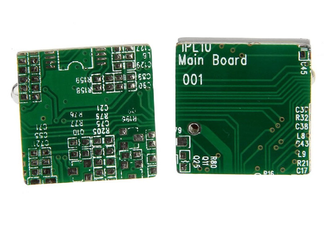 MRCUFF PC Motherboard Computer Chip Circuit Board Pair Cufflinks Presentation Gift Box & Polishing Cloth