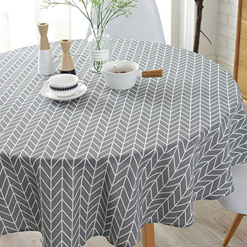 ColorBird Geometric Series Tablecloth Arrow Pattern Cotton Linen Dust-Proof Table Cover for Kitchen Dinning Tabletop Linen Decor (Round, 60 Inch, Grey)