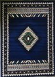 Southwest Native American Area Rug Navy Blue Design D143 (8 Feet X 10 Feet)