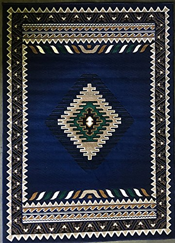 Southwest Native American Area Rug Navy Blue Design D143 (8 Feet X 10 Feet) by Kingdom