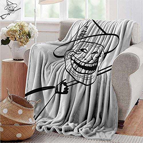 XavieraDoherty Flannel Throw Blanket,Humor,Halloween Spirit Themed Witch Guy Meme LOL Joy Spooky Avatar Artful Image Print,Black and White,for Bed & Couch Sofa Easy Care -