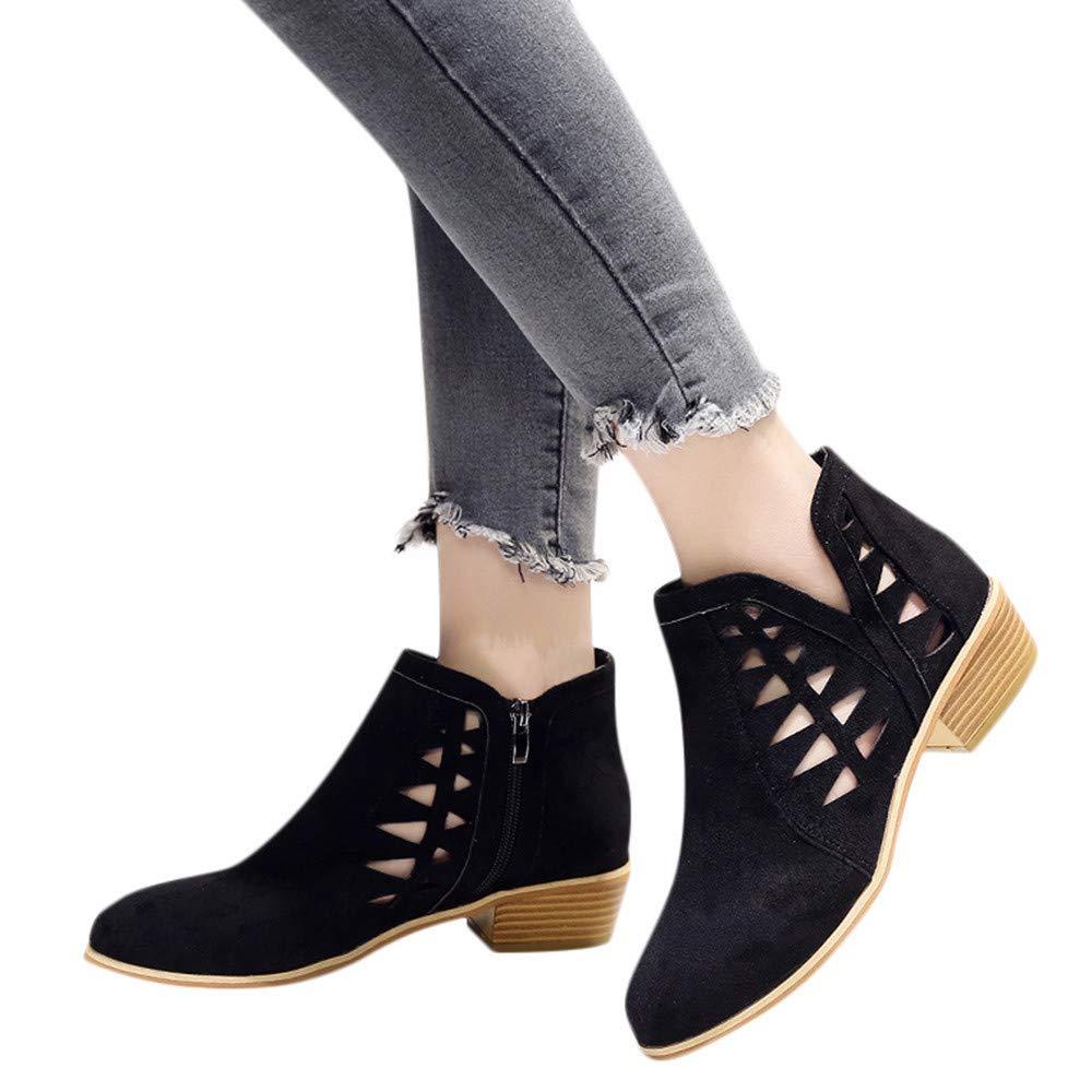 MYMYG Botas para Mujer Botines Mujer Tacon Invierno Planos Tacon Ancho Piel Botas de Mujer Martin Botines Cortos Botín Elegantes Zapatos Plataforma