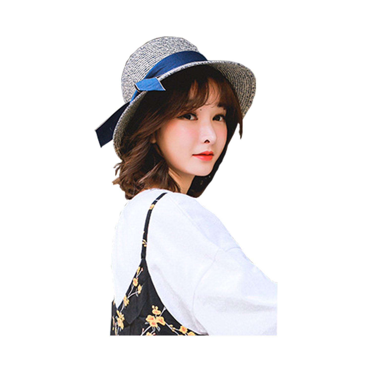Bow Womens Sun Hat Summer Beach Hat Topee for Travel Fishing Hiking (Blue)