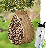 how many bees d - Gift Included- Garden Bee Pollination Hanging Mason Bee House Mason Bee Hive + FREE Bonus Water Bottle by Homecricket