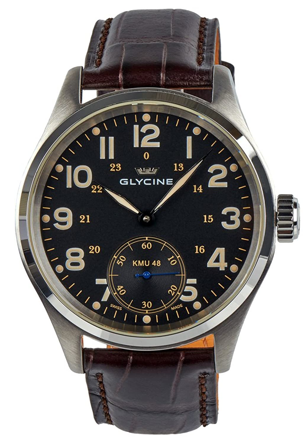 Glycine KMU 48 Kriegs Marine Uhren Manual Wind Stainless Steel Herren Uhr 3906.19AT LB33